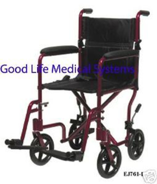 "Aluminum Transport Chair, Lightweight, Red Frame, 17"" Seat, Manufactured by Everest & Jennings"