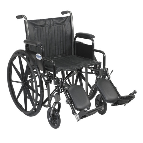 "Drive Medical Silver Sport 2 Wheelchair,20""Seat,Detachable DeskArm,Elevating Legrest, SSP220DDA-ELR"
