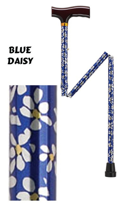 Aluminum Folding Cane, Blue Daisy Pattern
