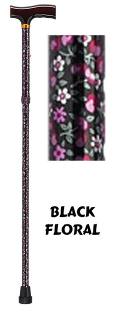 Aluminum Folding Cane, Black Floral Design