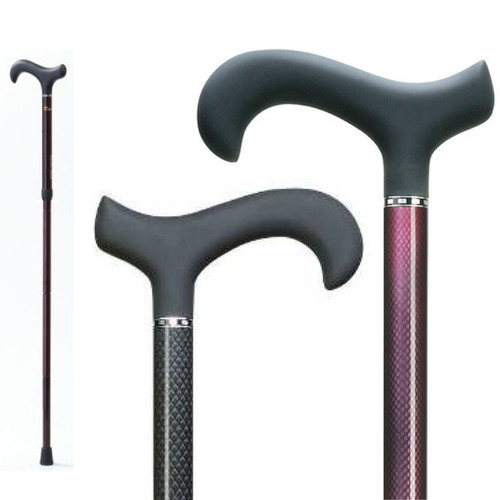 Lightweight & Strong Carbon Fiber Walking Cane with Soft Touch Derby Handle, Adjustable, Mesh Design, Red or Black