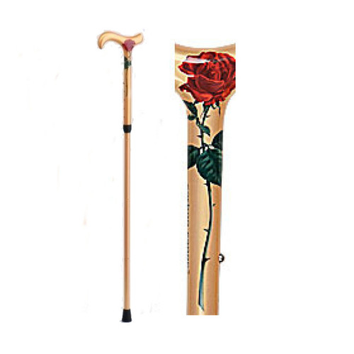 Rose Carbon Fiber Adjustable Cane, Derby Handle