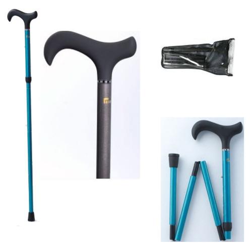 Folding Adjustable Height Carbon Fiber Cane in Blue Brush or Black Gray Finish