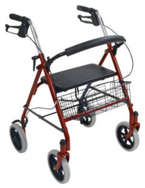 Red Rollator Walker with 4 Wheels, Seat and Basket
