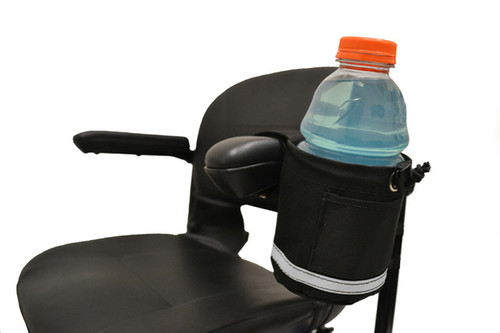 Unbreakable Cupholder or Bottle Carrier, Horizontal Grip, for Scooters or Wheelchairs