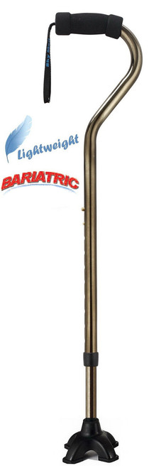 Bronze bariatric offset handle aluminum cane with Quadruple cane tip.