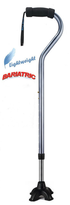 Silver 650 lb weight capacity cane offset aluminum cane with self-standing tip.