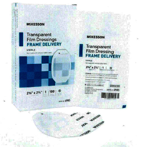 "McKesson Transparent Film Dressing, box of 50, 4"" x 4 3/4"", 4986"
