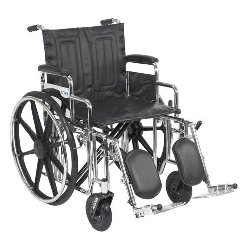 """Drive Sentra Heavy Duty Extra Wide Wheelchair, 20"""" wide seat, elevating legrests, detachable desk arms"""