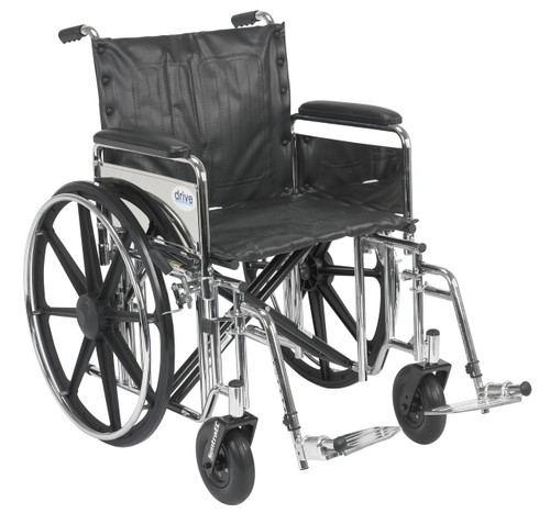 "Drive Sentra Extra Wide Heavy Duty Wheelchair, 20"" Seat, Detachable Full Arms, Swing Away Footrests"
