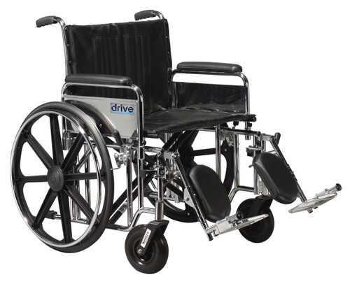 "Drive Sentra HD Wheelchair with 20"" seat, detachable full arms, elevating legrests"