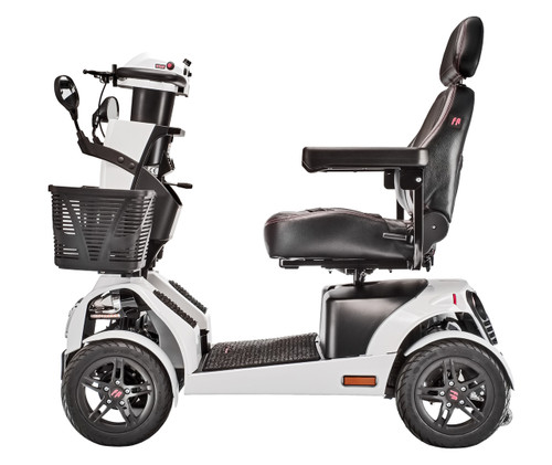 Side view of FR1 heavy duty mobility scooter