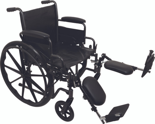 """ProBasics K2 Manual Wheelchair, 18"""" Wide Seat, ELRs, Flip-Back Padded Arms"""