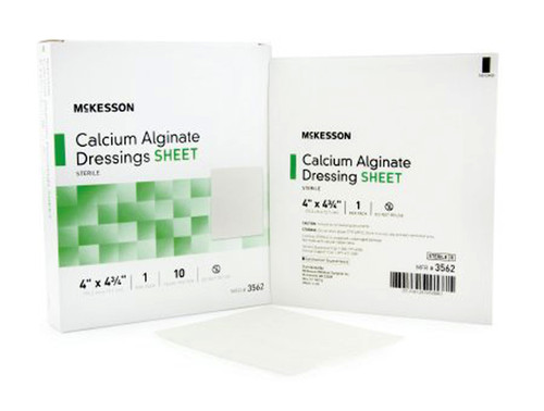 McKesson Calcium Alginate Dressing, 4 in by 4.75 in, Case of 100