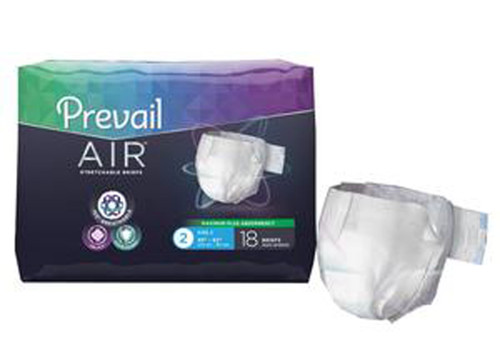 "72 Prevail Air™ Adult Incontinence Briefs, High Absorbency,  Size 2 45""-62"""