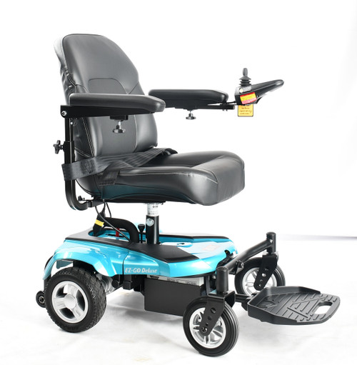 EZ GO compact power chair in Turquoise