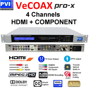 VeCOAX PRO-X-Q Four Channel QAM Modulator with Simultaneous IPTV Outputs