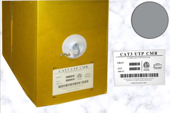 Network Cable, CAT3 CMR, Grey, 1000FT