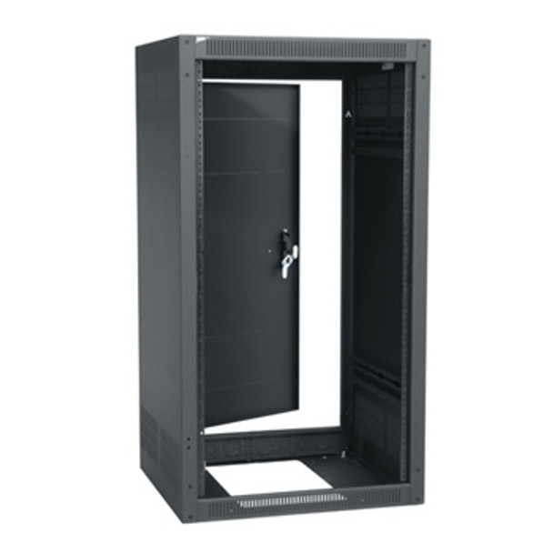 18 SPACE(31-1/2) 19-1/2 DEEP STAND ALONE RACK WITH REAR DOOR BLACK FINISH