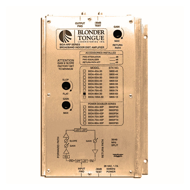 BIDA 86A-30 Broadband Indoor Distribution Amplifier