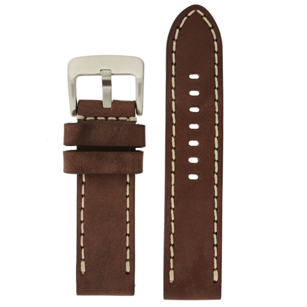 Panerai Watch Band Thick Brown Heavy Buckle   Saddle Brown Leather Panerai Inspired Watch Strap   TechSwiss LEA1555