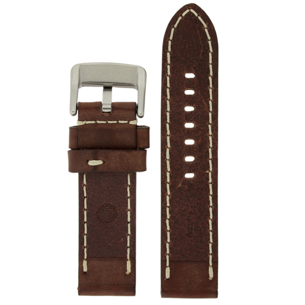 Panerai Watch Band Thick Brown Heavy Buckle   Saddle Brown Leather Panerai Inspired Watch Strap   TechSwiss LEA1555   Watch Band Lining