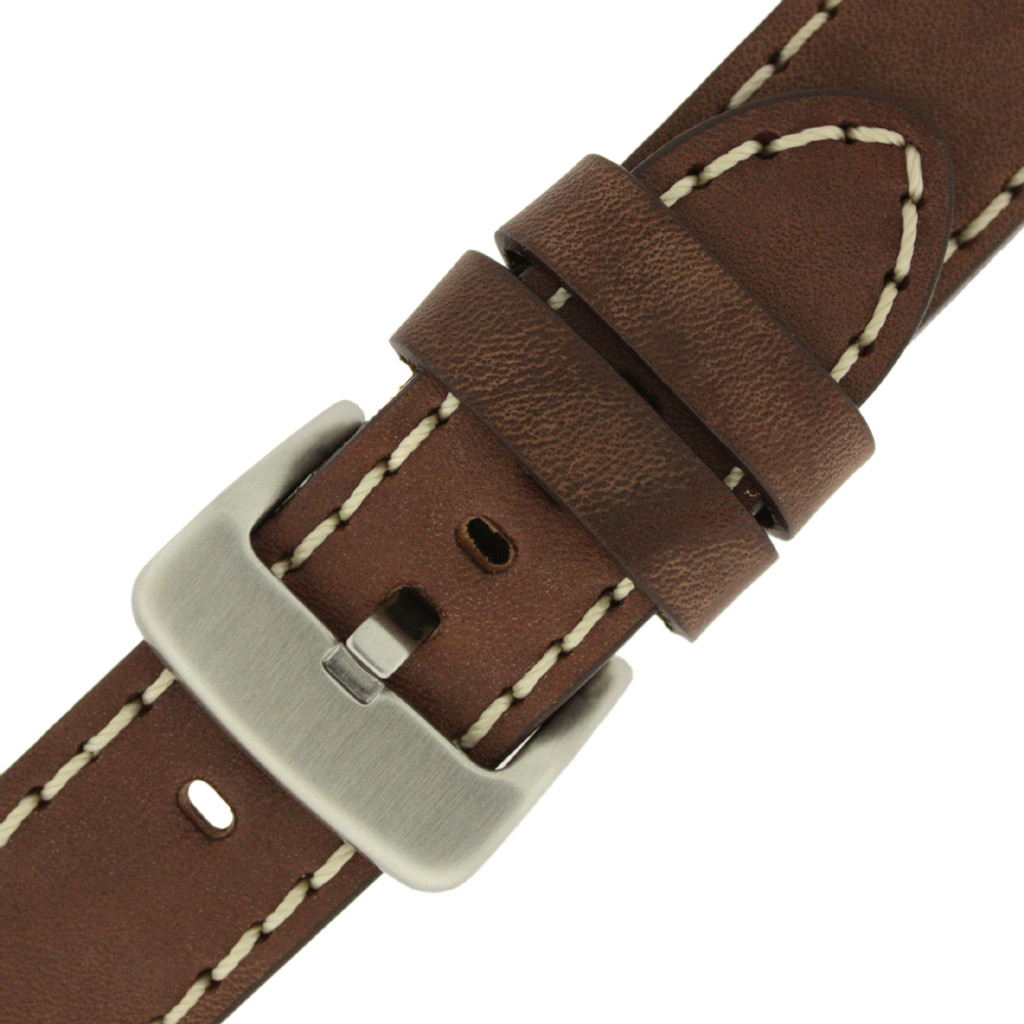 Panerai Watch Band Thick Brown Heavy Buckle   Saddle Brown Leather Panerai Inspired Watch Strap   TechSwiss LEA1555   Top Buckle