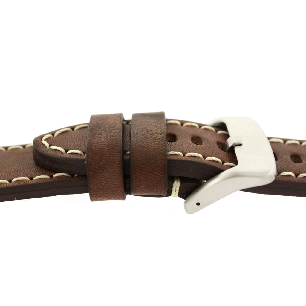 Panerai Watch Band Thick Brown Heavy Buckle   Saddle Brown Leather Panerai Inspired Watch Strap   TechSwiss LEA1555   Side Buckle