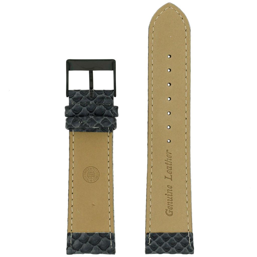 22mm Watch Band Gunmetal Grey Snake Design Black Buckle