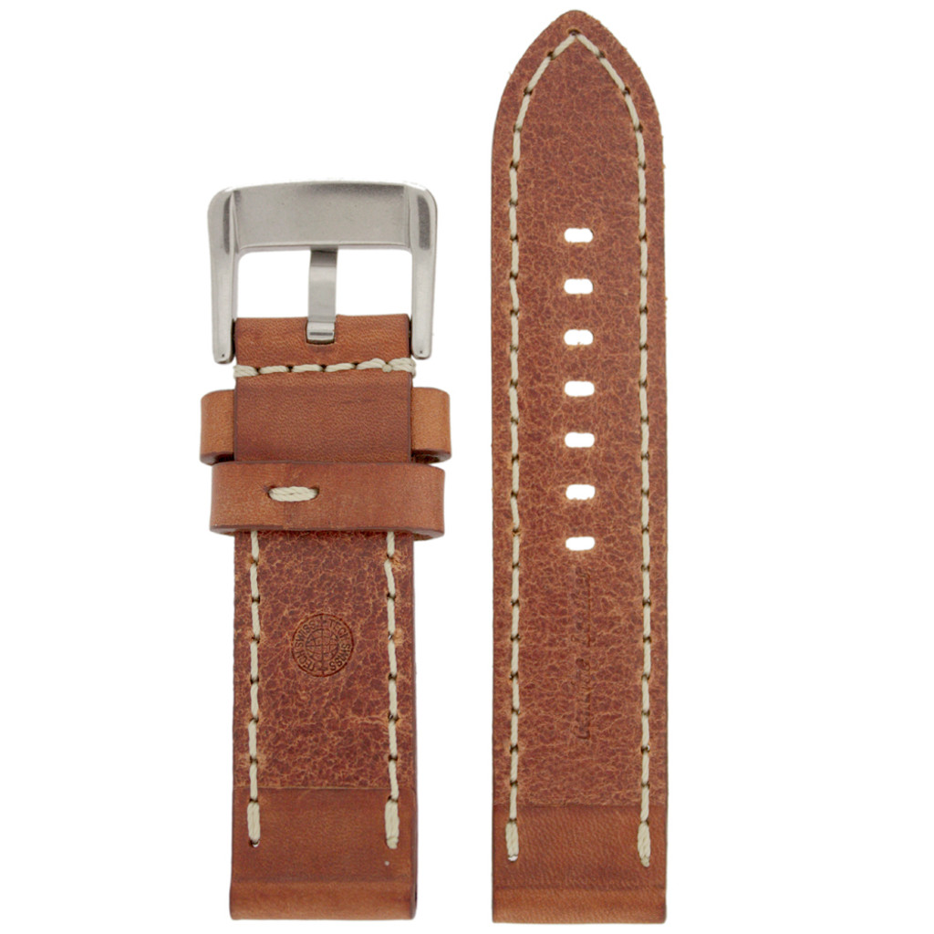 Panerai Style Watch Band Thick Tan Heavy Buckle Inside LEA1553