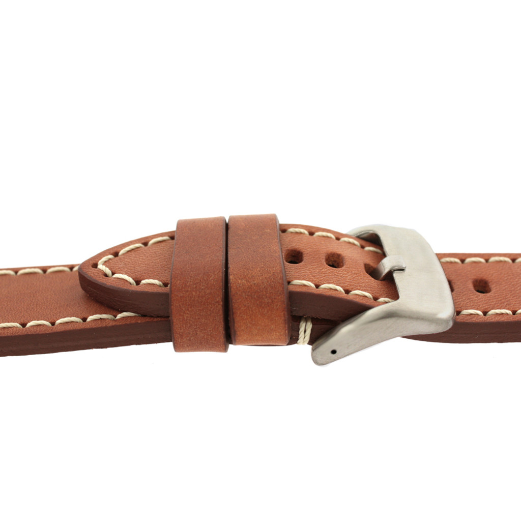 Panerai Style Watch Band Thick Tan Heavy Buckle Side View LEA1553