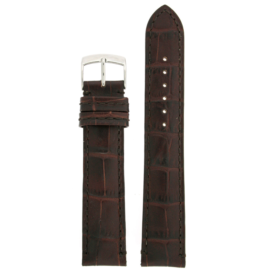 Long Brown Leather Alligator Grain Watch Band | TechSwiss Long Leather Watch Bands  | LEA1560 | Front