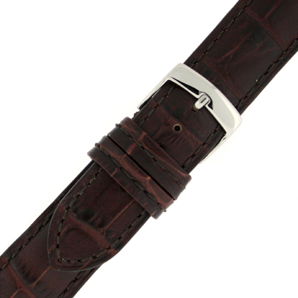Long Brown Leather Alligator Grain Watch Band | TechSwiss Long Leather Watch Bands  | LEA1560 | Buckle