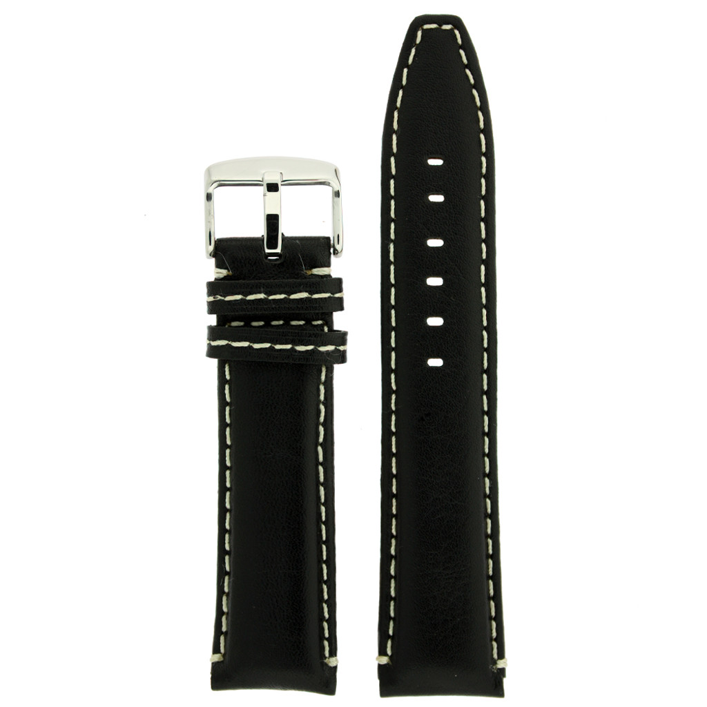 Black Leather Watch Band | TechSwiss Leather Watch Bands  | LEA1446 | Front