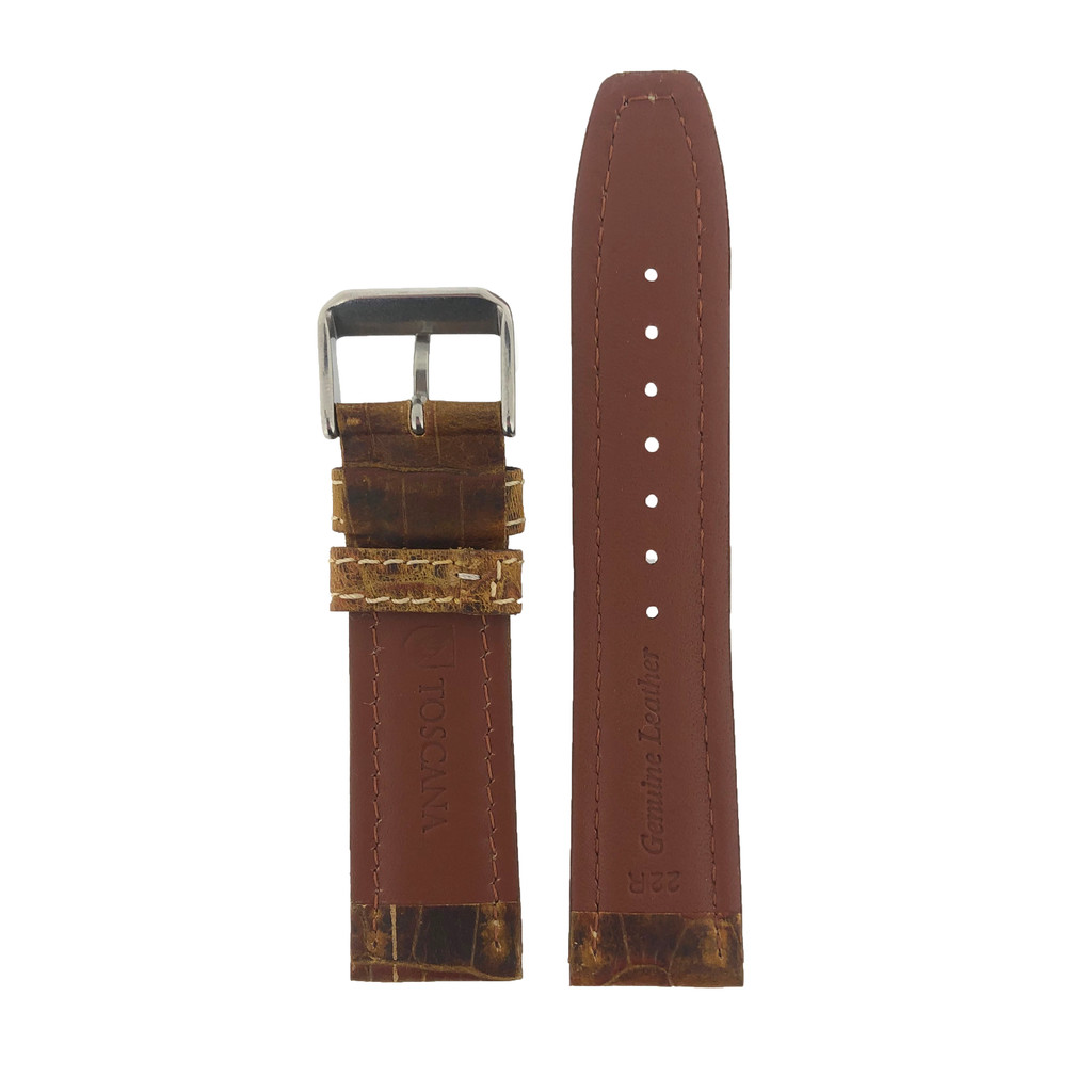Distressed Brown Leather Watch Band | TechSwiss  Leather Watch Bands  | LEA425 | Back