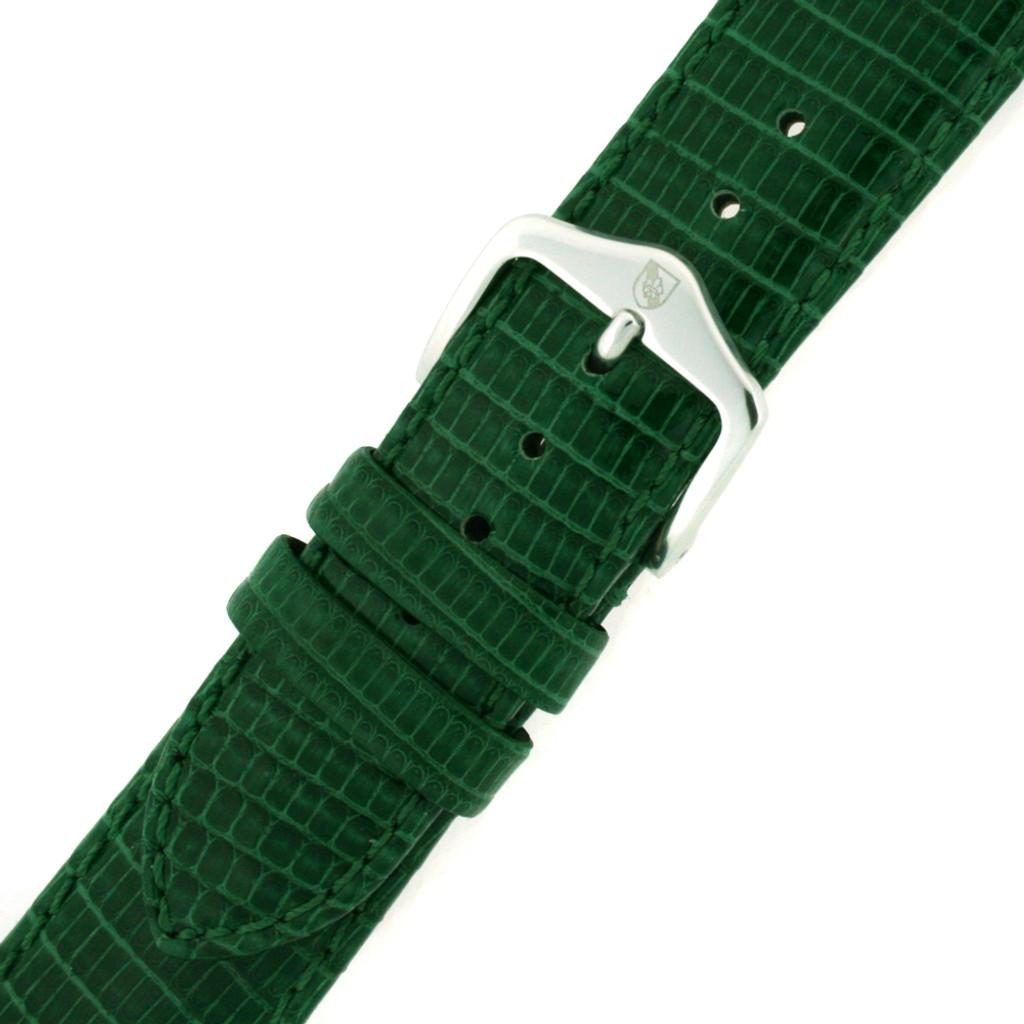 Green Lizard Skin Watch Band | Genuine Exotic Grain Straps | TechSwiss LEA738 | Buckled