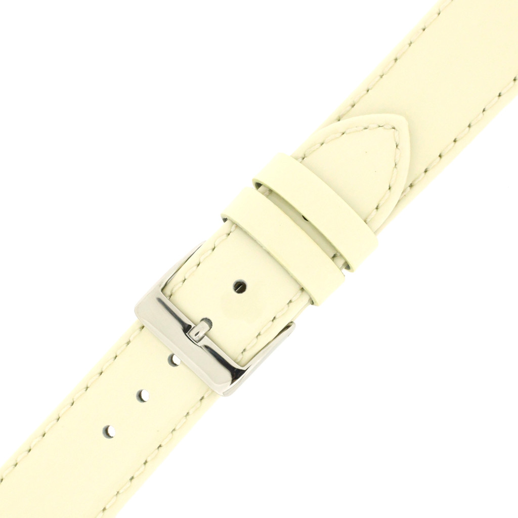 Cream Beige Patent Leather Watch Band | Cream Glossy Watch Strap | Cream Watch Band | Italian Calfskin | LEA407 | Buckled