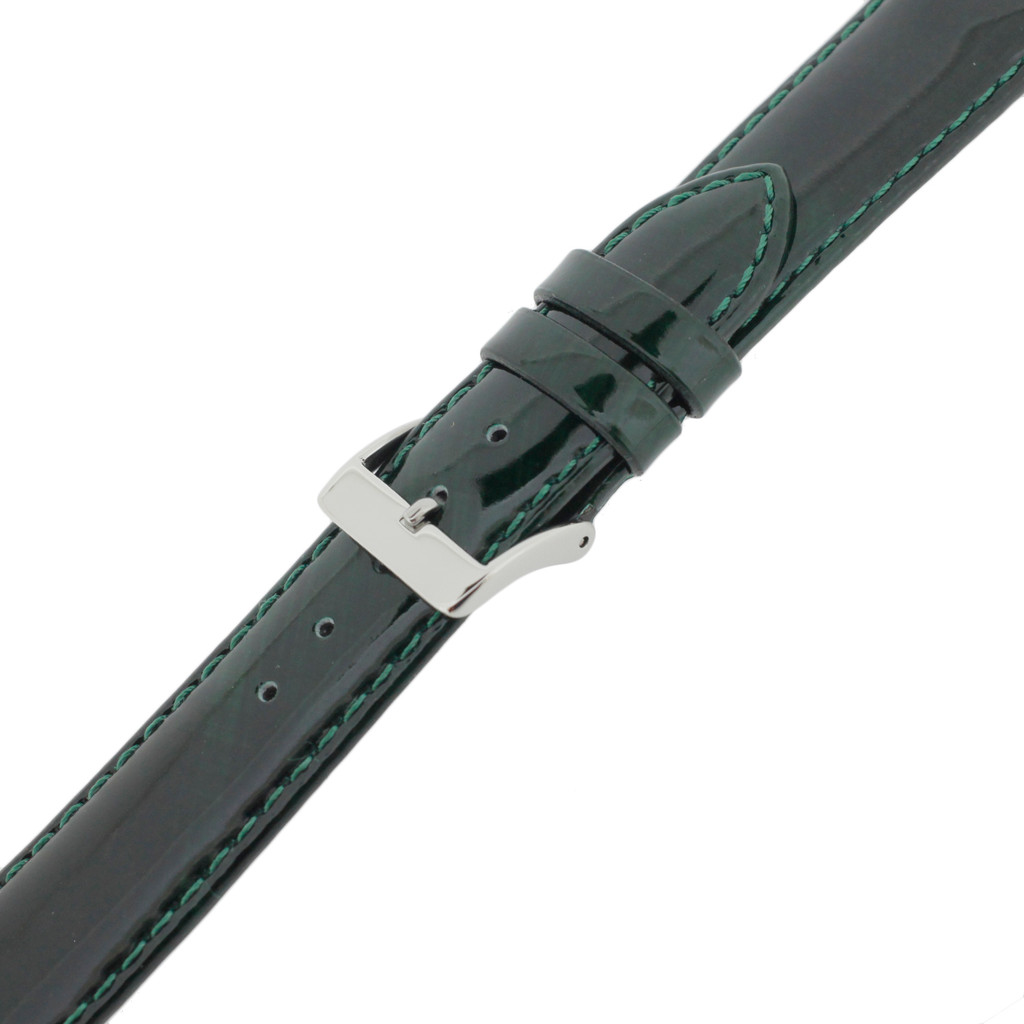 Green Patent Leather Watch Band | Glossy Watch Strap | Cream Watch Band | Italian Calfskin | LEA435 | Buckled