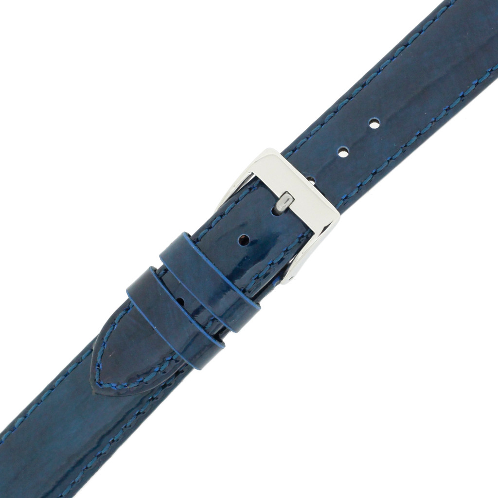 Blue Watch Band Patent Leather Watch Band | Glossy Watch Strap | Blue Watch Band | Italian Calfskin | LEA436 | Buckled