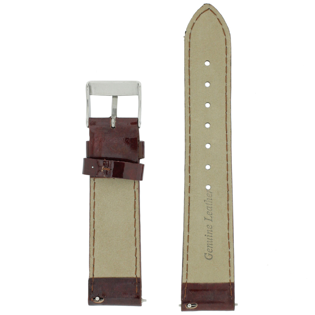 Burgundy Red Watch Band Patent Leather Watch Band | Glossy Watch Strap | Burgundy Watch Band | Italian Calfskin | LEA437 | Back