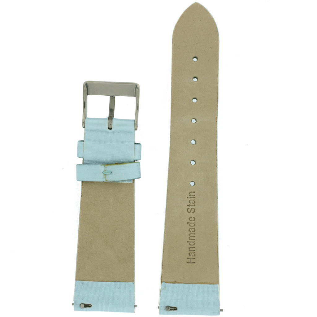 Blue Watch Band Satin Leather Watch Band |  Watch Strap | Ladies Light Blue  Watch Band | Italian Calfskin | LEA412 | Back