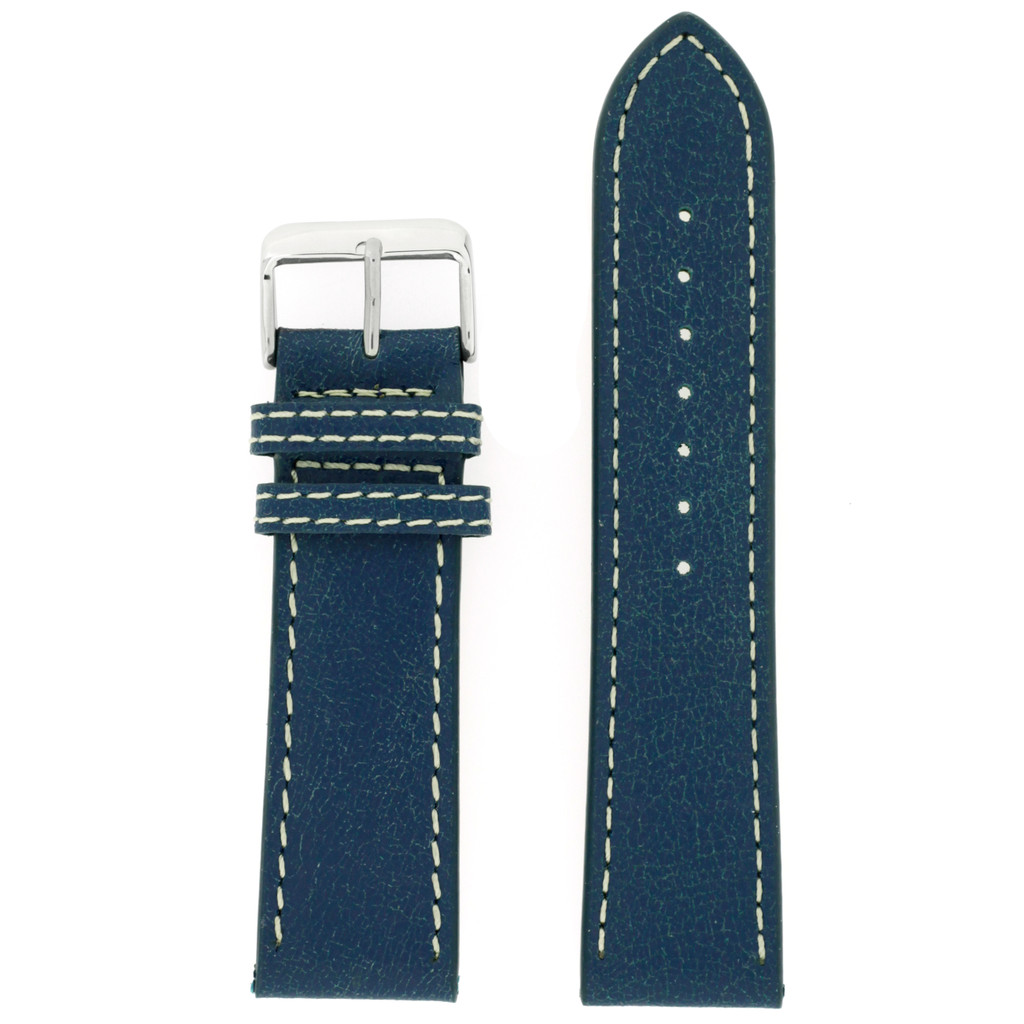 Watch Band Leather Distressed Blue White Stitching Heavy Buckle LEA440   TechSwiss   Front