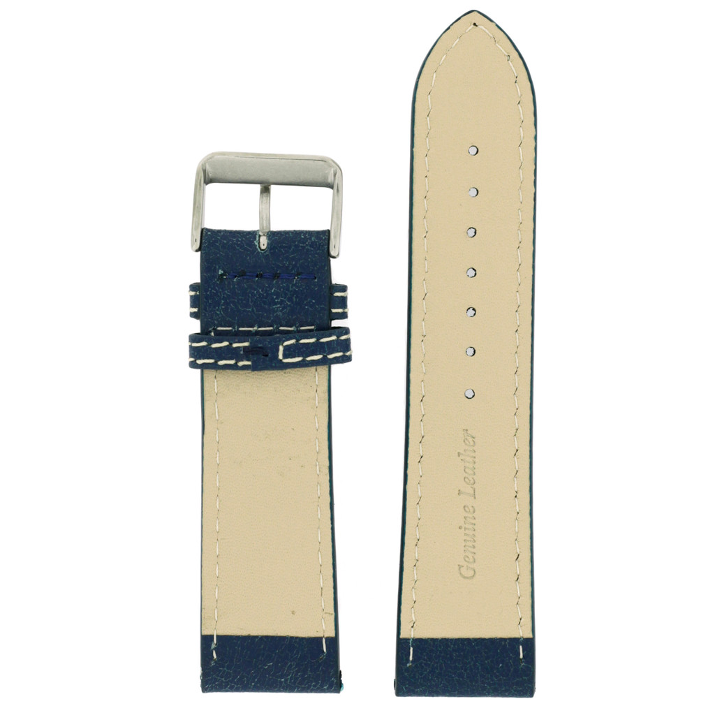 Watch Band Leather Distressed Blue White Stitching Heavy Buckle LEA440   TechSwiss   Back