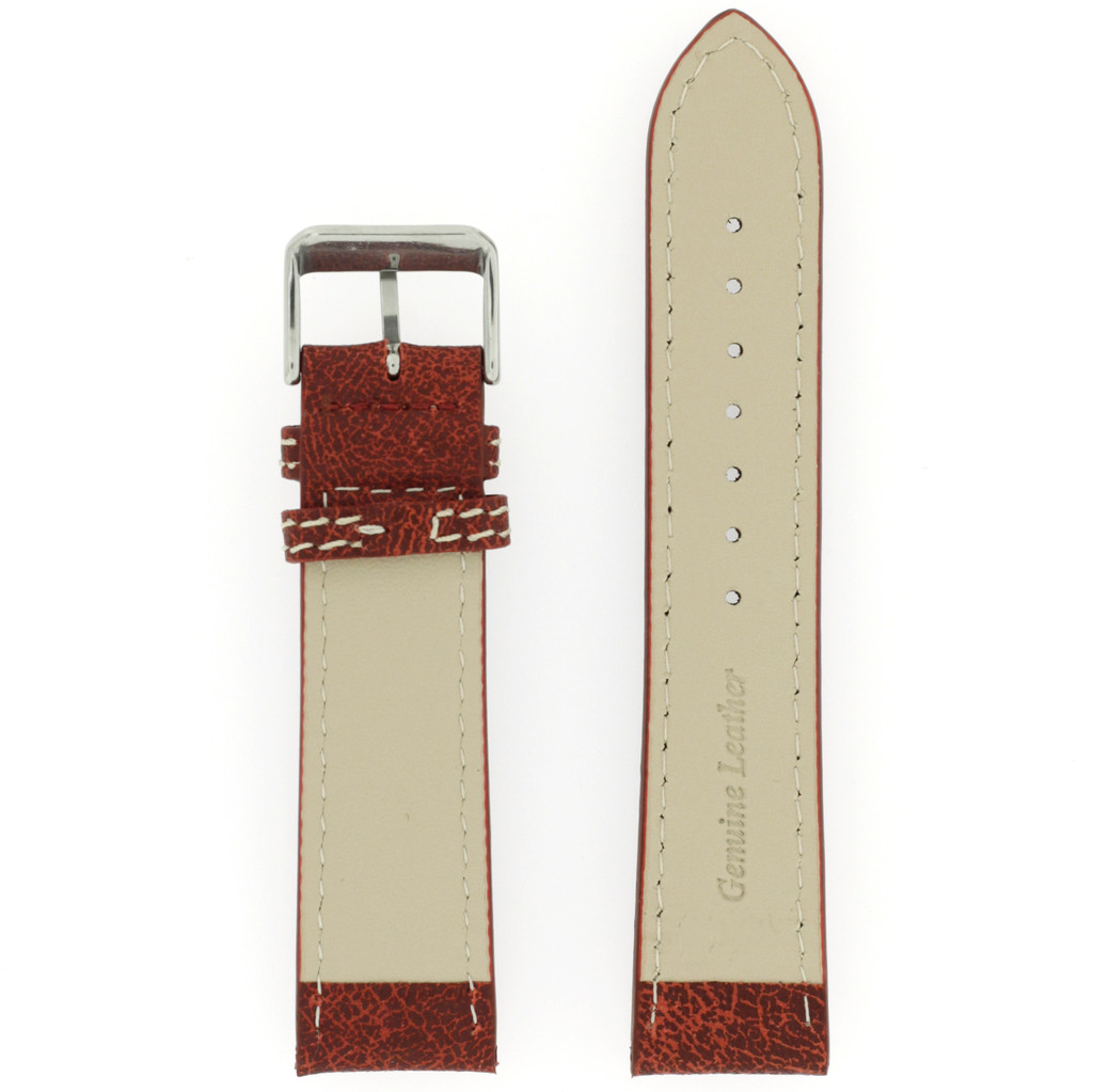 Watch Band Leather Distressed Brown White Stitching Heavy Buckle LEA441  TechSwiss   Back