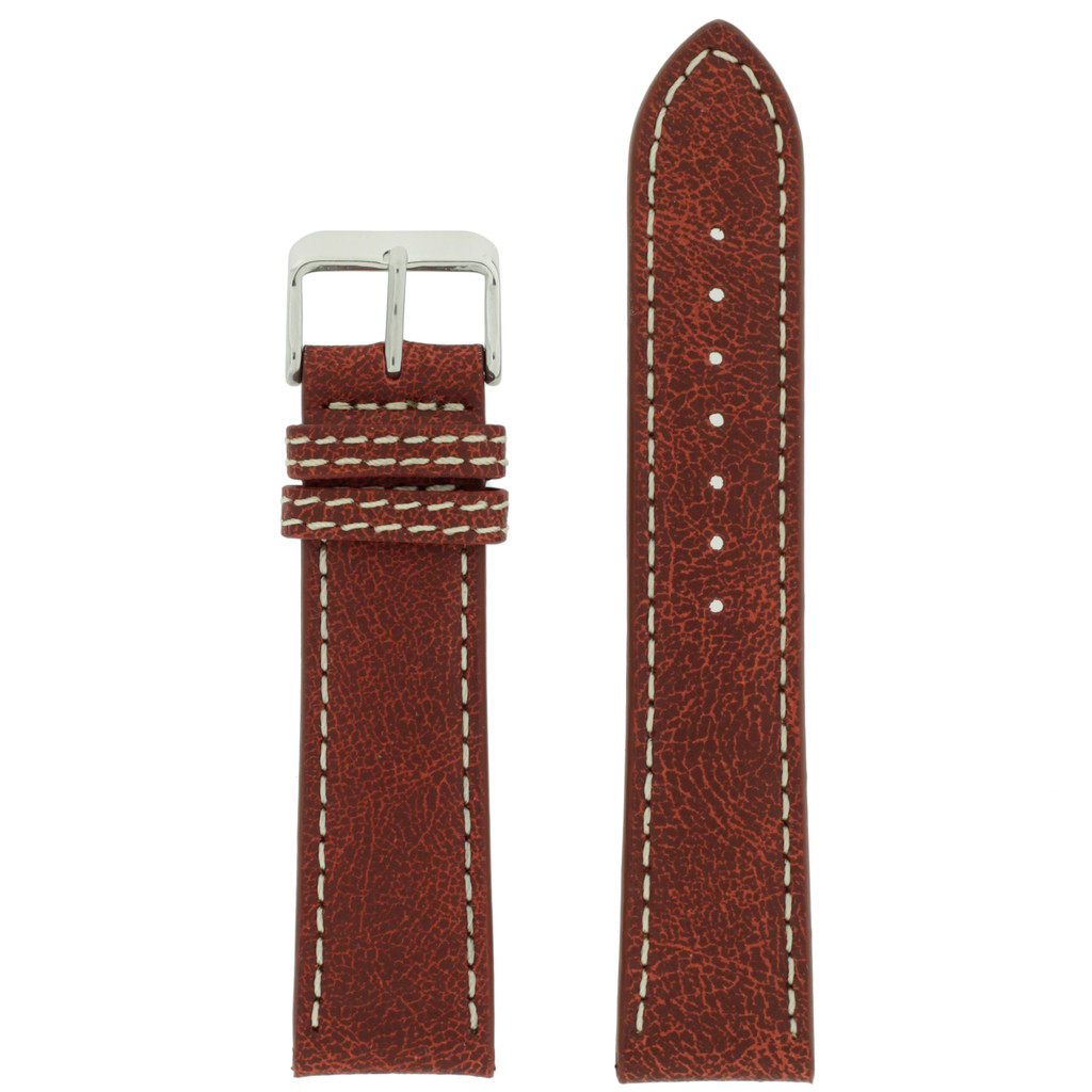 Watch Band Leather Distressed Brown White Stitching Heavy Buckle LEA441  TechSwiss   Front
