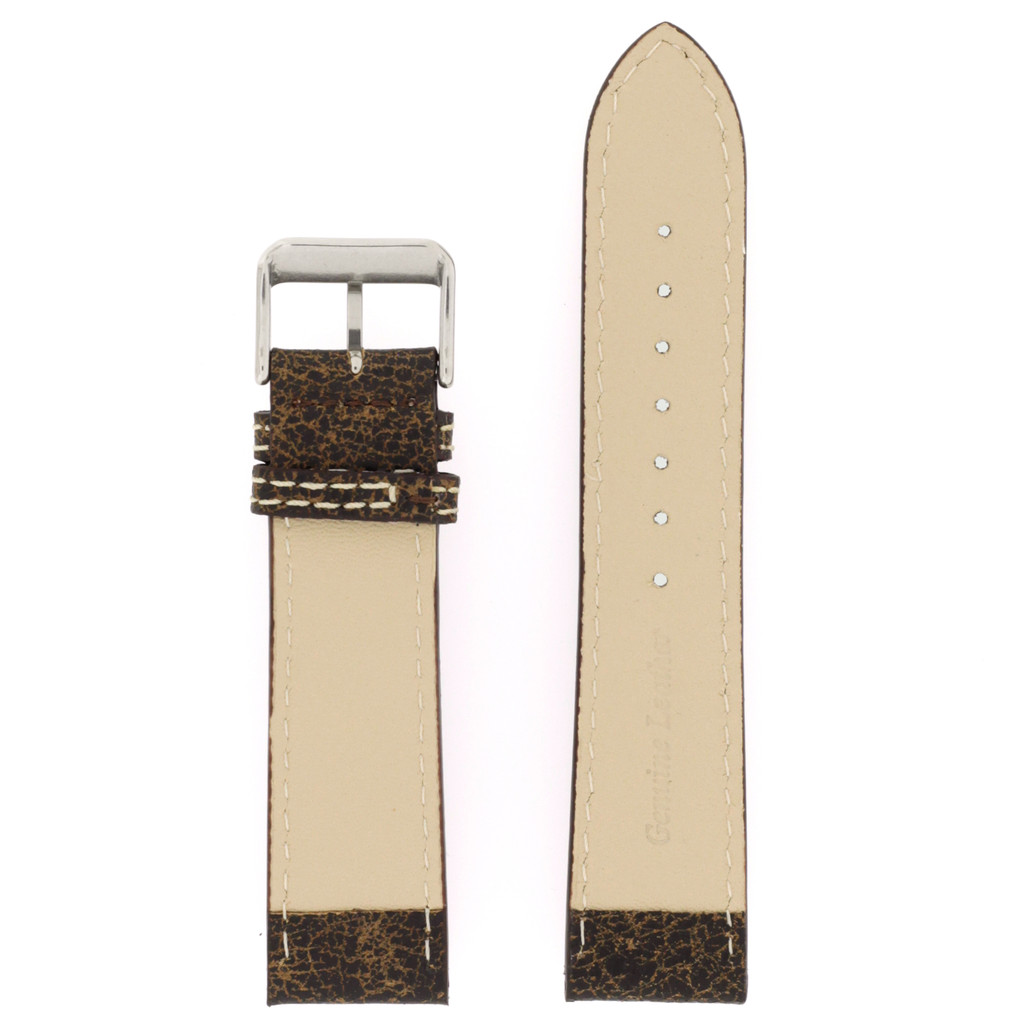 Watch Band Leather Distressed Dark Brown White Stitching Heavy Buckle LEA442| TechSwiss | Back