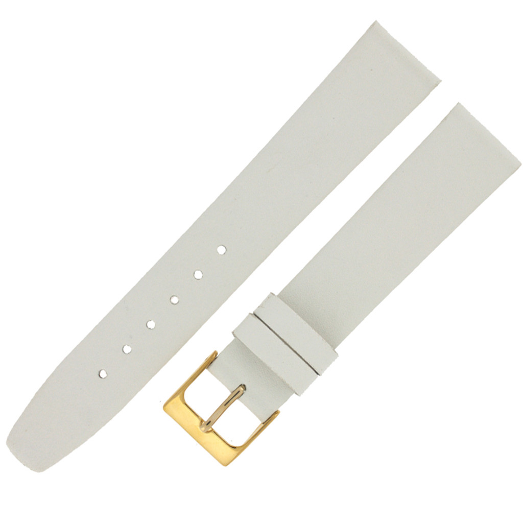 White Leather Watch Band Plain Non-Padded Stitched 16mm 18mm