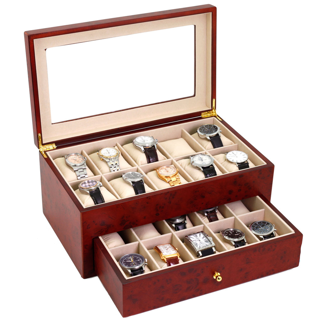 Burlwood Wood Watch Box for 20 Watches| TechSwiss TSBXA20BUR | Open