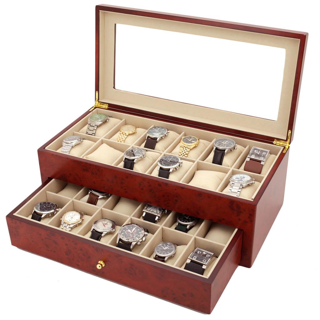 Burlwood Watch Box | Watch Cases by TechSwiss | TSBXA24BUR | Main