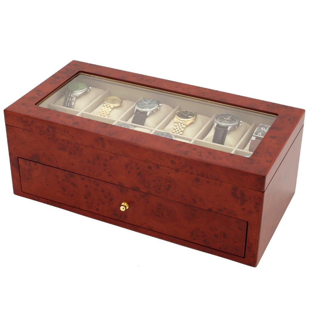 Burlwood Watch Box | Watch Cases by TechSwiss | TSBXA24BUR | Side